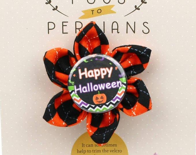 Halloween Dog Bow - Happy Halloween on Halloween Argyle - Flower - Collar Blossom - Small Size