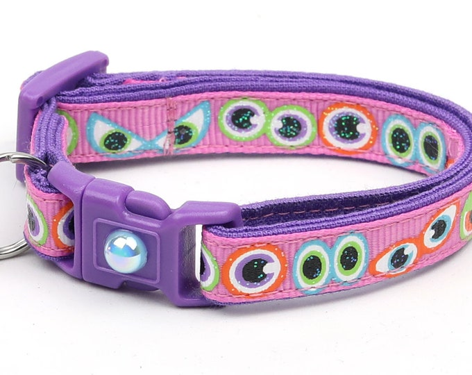 Halloween Cat Collar - Scary Eyes on Pink - Breakaway Cat Collar - Kitten or Large size