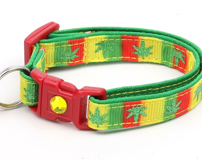 Weed Cat Collar - Marijuana Leaves on Rasta Stripe - Safety Breakaway - Small Cat / Kitten Size or Large Size