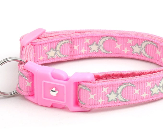 Moon Cat Collar - Silver Moons and Stars on Pink - Breakaway Cat Collar - Kitten or Large size - Glow in the Dark B3D201