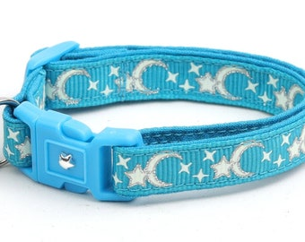 Moon Cat Collar - Silver Moons and Stars on Turquoise - Breakaway Cat Collar - Kitten or Large size - Glow in the Dark B58D201