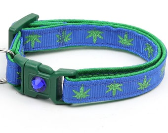 Weed Cat Collar - Marijuana Leaves on Blue - Small Cat / Kitten Size or Large Size