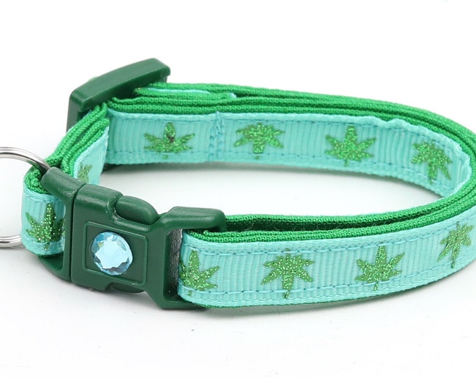 Weed Cat Collar - Marijuana Leaves on Aqua - Safety Breakaway - Small Cat / Kitten Size or Large Size