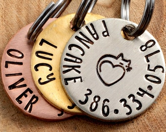 """Cat Heart Pet ID Tag - Petite Cat Name Tag - 3/4"""" pick your color Pet ID Tag - Personalized Cat ID Tag - Custom Pet Tag"""