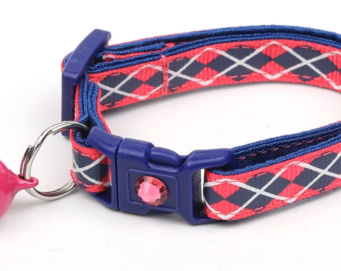 Argyle Cat Collar - Navy Argyle on Pink - Small Cat / Kitten Size or Large Size