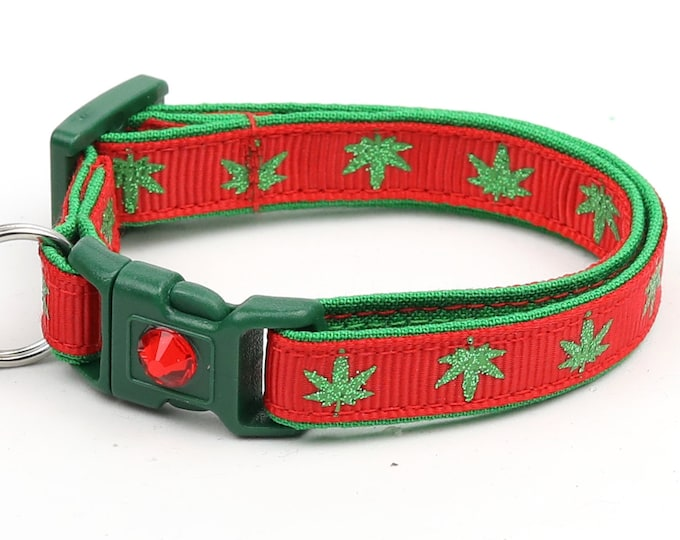 Weed Cat Collar - Marijuana Leaves on Red - Small Cat / Kitten Size or Large Size