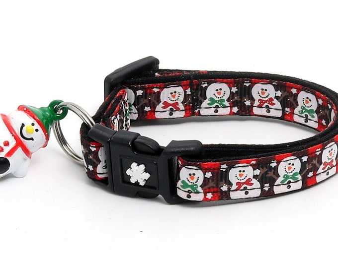 Snow Cat Collar - Jolly Snowmen on Red Plaid - Small Cat / Kitten or Large(standard) Size Collar B50D102