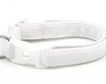 Soft Velvet Cat Collar - Pure White - Kitten or Large Size