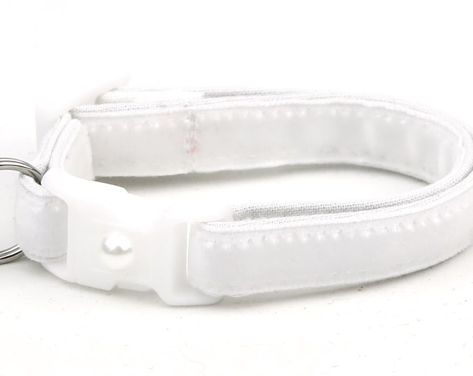Soft Velvet Cat Collar - Pure White - Kitten or Large Size B20
