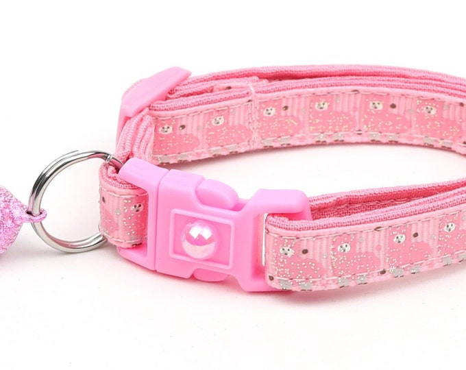 Llama Cat Collar - Cute Pink Llamas on Pink - Kitten or Large Size