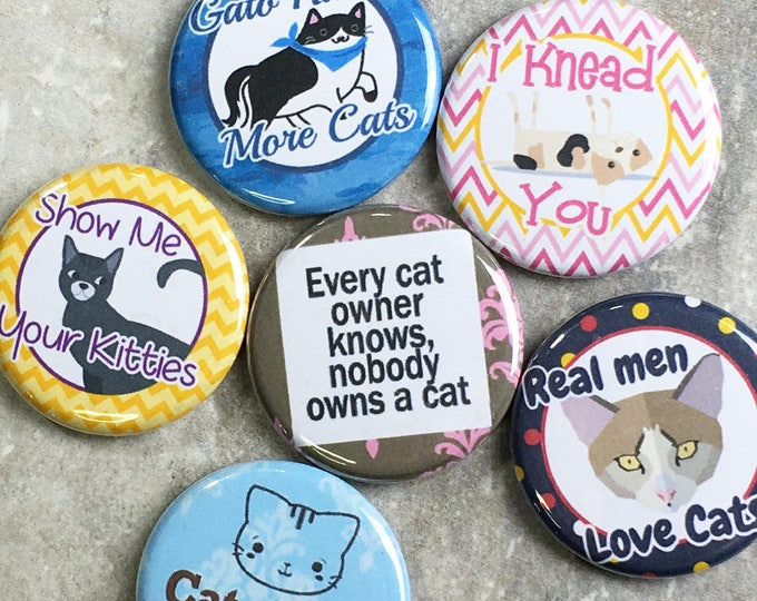Funny Cat Magnets - Funny Cat Sayings - Set of 6 - Refrigerator Magnets - Office Decor