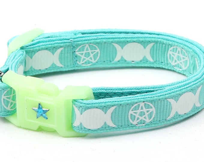 Wicca Cat Collar - Witch's Familiar on Aqua  - Breakaway Cat Collar - Kitten or Large size - Glow in the Dark
