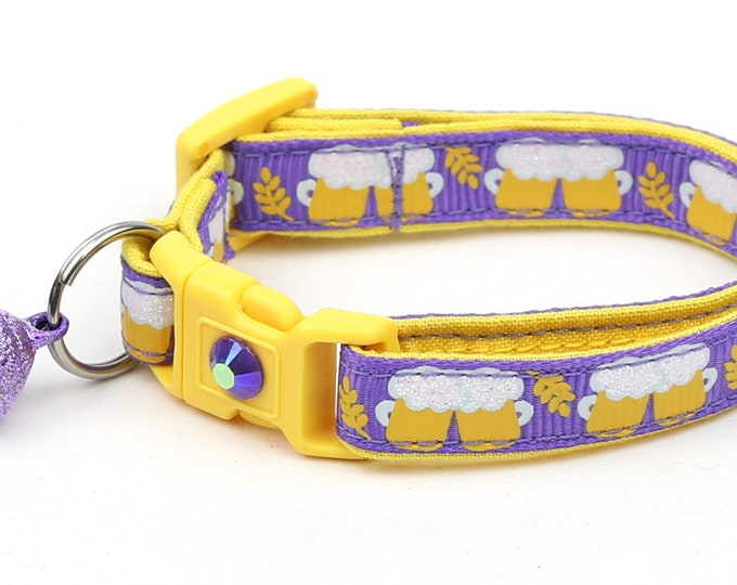 Beer Cat Collar - Beer Mugs on Purple - Small Cat / Kitten Size or Large Size