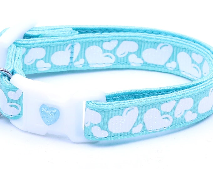 Valentines Day Cat Collar - Puffy White Hearts on Aqua - Kitten or Large Size