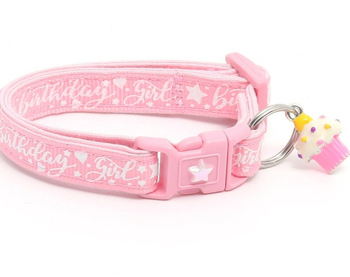 Birthday Cat Collar - Birthday Girl on Light Pink - Safety Breakaway - Kitten or Large Size B128D25