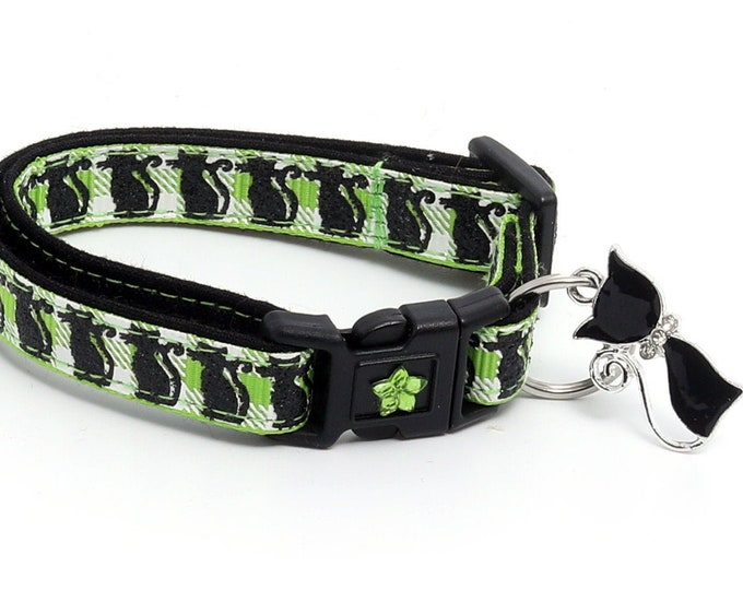 Halloween Cat Collar - Glittering Black Cats on Green Plaid - Breakaway Cat Collar - Kitten or Large size B120D191