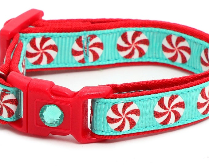 Christmas Cat Collar - Peppermints on Aqua - Kitten or Large Size B140D273