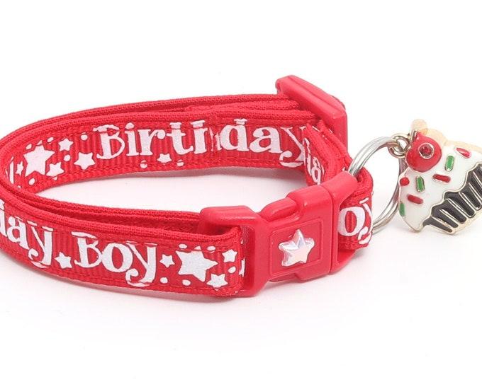Birthday Cat Collar - Birthday Boy on Red - Safety Breakaway - Kitten or Large Size B39D18
