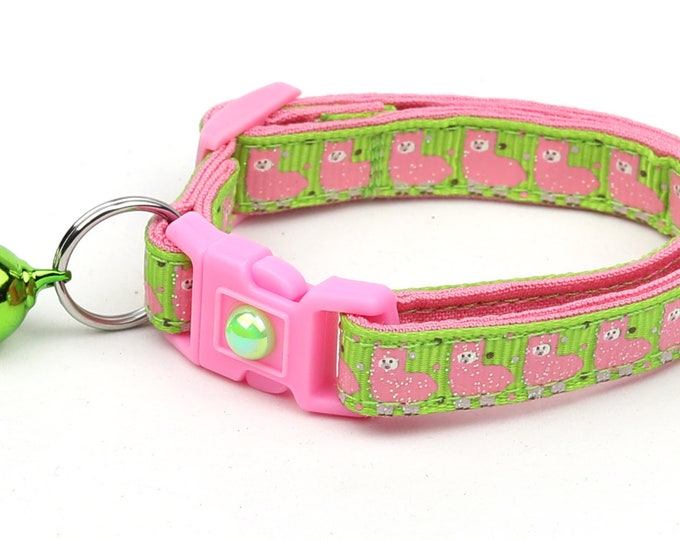 Llama Cat Collar - Cute Pink Llamas on Green - Kitten or Large Size