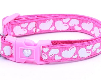 Valentines Day Cat Collar - Puffy White Hearts on Bright Pink - Kitten or Large Size
