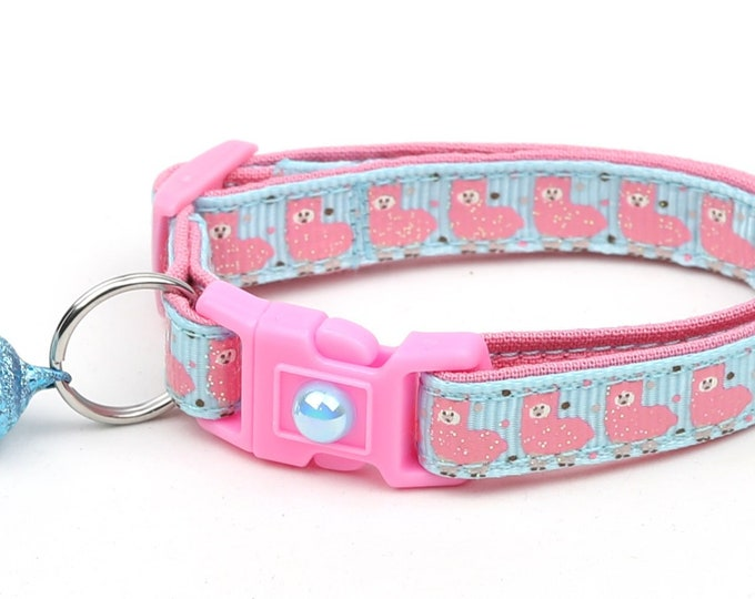 Llama Cat Collar - Cute Pink Llamas on Blue - Kitten or Large Size