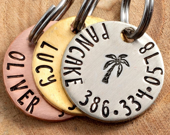 """Palm Tree Pet ID Tag - Petite Cat or dog Tag - 3/4"""" pick your color Pet ID Tag - Personalized Cat ID Tag - Tropical Pet Tag"""