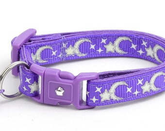 Moon Cat Collar - Silver Moons and Stars on Purple - Breakaway Cat Collar - Kitten or Large size - Glow in the Dark B6D201