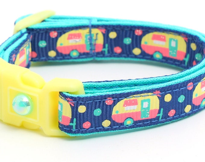 Camper Cat Collar - Campers on Navy - Small Cat / Kitten Size or Large Size B46D120