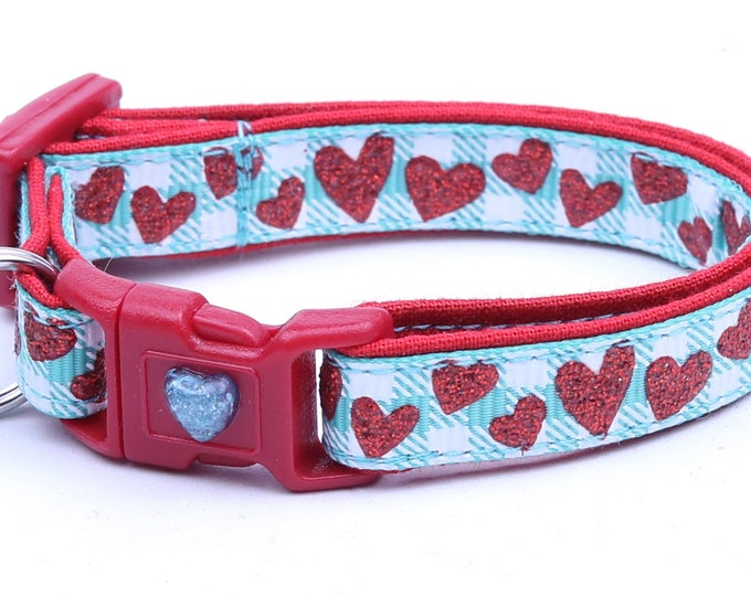 Valentines Day Cat Collar - Red Glitter Hearts on Aqua - Kitten or Large Size