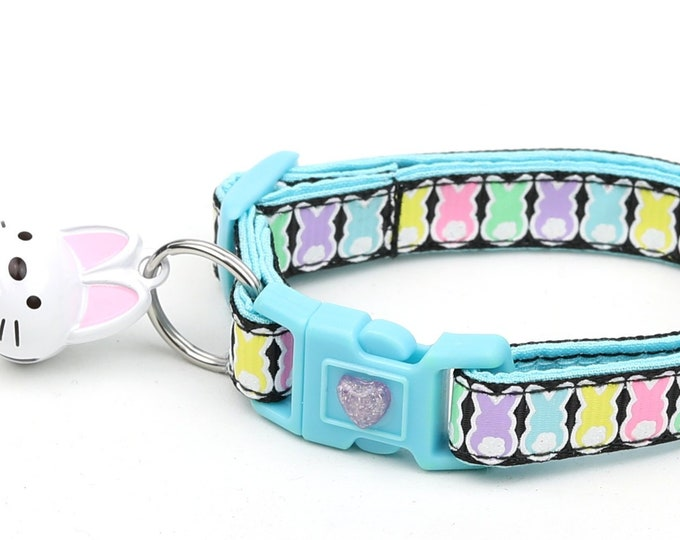 Easter Cat Collar - Easter Bunnies on Black - Kitten or Large Size