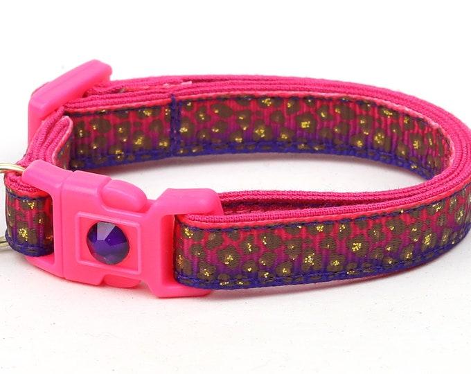 Leopard Cat Collar - Pink & Purple Leopard Print - Kitten or Large Size - Safety Breakaway Cat Collar