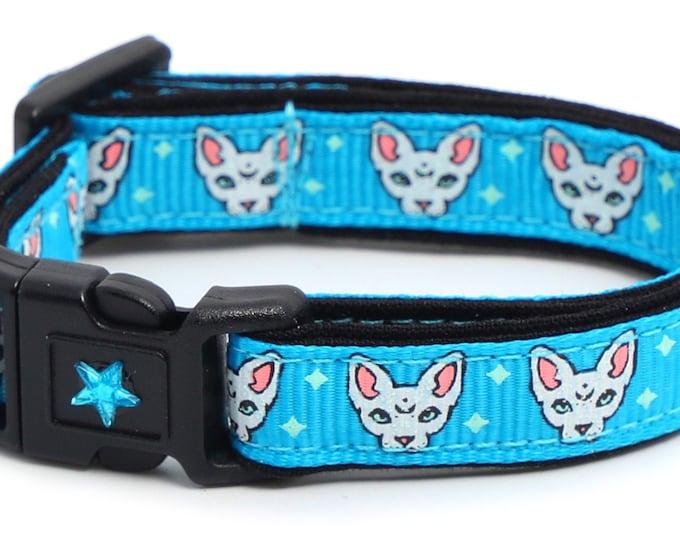 Star Cat Collar - Celestial Sphynx on Blue - Breakaway Cat Collar - Kitten or Large size B94D261