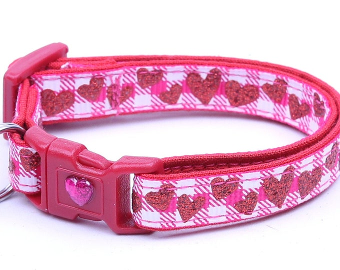 Valentines Day Cat Collar - Red Glitter Hearts on Hot Pink Gingham - Kitten or Large Size