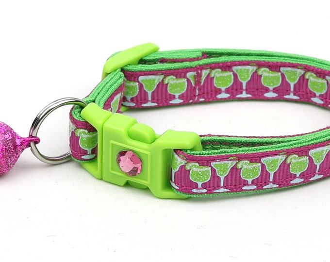Margarita Cat Collar - Margaritas on Pink  - Small Cat / Kitten Size or Large Size