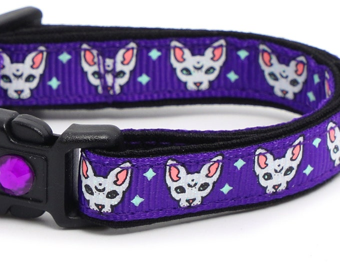 Star Cat Collar - Celestial Sphynx on Purple - Breakaway Cat Collar - Kitten or Large size B143D261