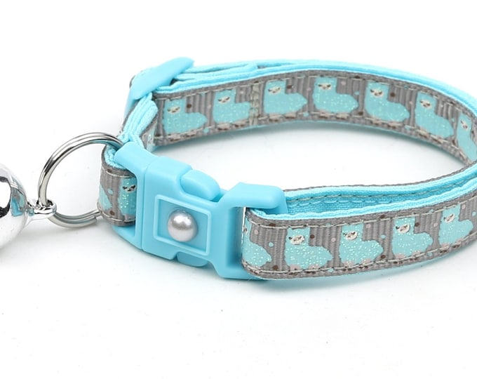 Llama Cat Collar - Cute Blue Llamas on Silver - Kitten or Large Size