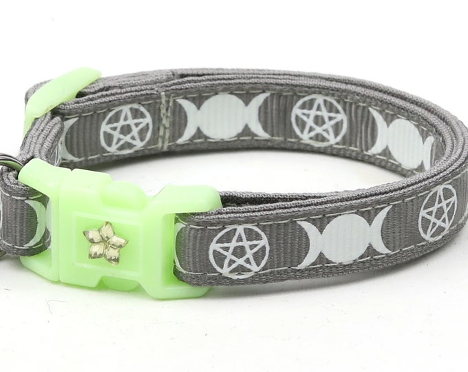Wicca Cat Collar - Witch's Familiar on Silver  - Breakaway Cat Collar - Kitten or Large size - Glow in the Dark