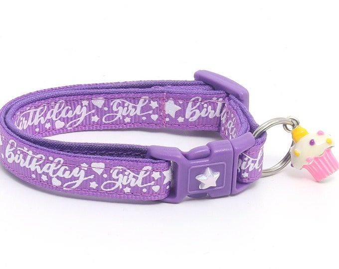 Birthday Cat Collar - Birthday Girl on Purple - Safety Breakaway - Kitten or Large Size B15D25