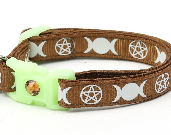Wicca Cat Collar - Witch's Familiar on Brown  - Breakaway Cat Collar - Kitten or Large size - Glow in the Dark