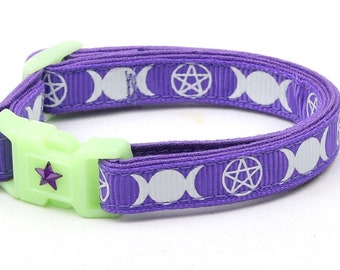 Wicca Cat Collar - Witch's Familiar on Purple  - Breakaway Cat Collar - Kitten or Large size - Glow in the Dark