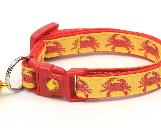 Beach Cat Collar - Crabs on Yellow - Kitten or Large Size - Tropical - Nautical