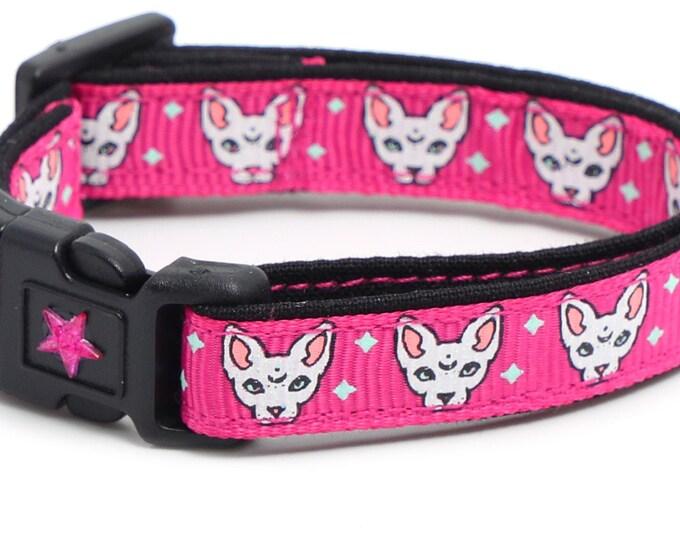 Star Cat Collar - Celestial Sphynx on Pink - Breakaway Cat Collar - Kitten or Large size B139D261