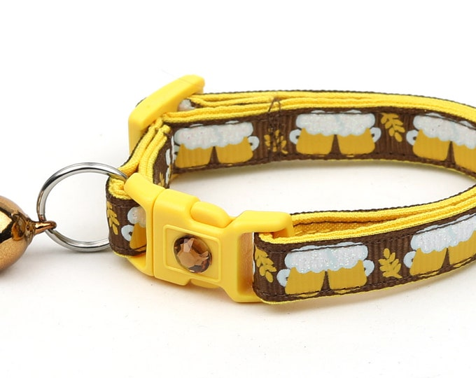 Oktoberfest Cat Collar - Beer Mugs on Brown - Small Cat / Kitten Size or Large Size