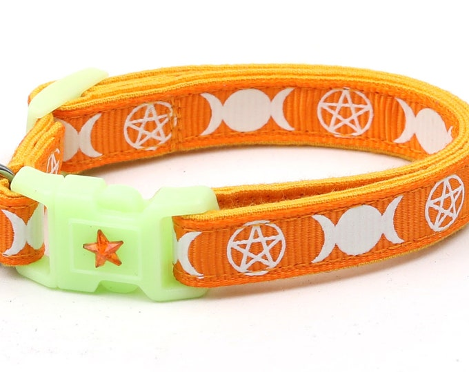 Wicca Cat Collar - Witch's Familiar on Orange - Breakaway Cat Collar - Kitten or Large size - Glow in the Dark