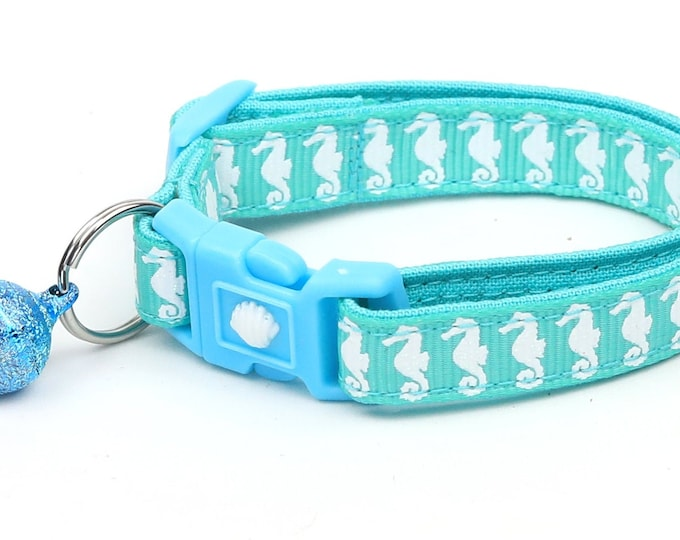 Tropical Cat Collar - Sea Horses on Aqua - Safety Breakaway - Kitten or Large Size - Nautical B50D130