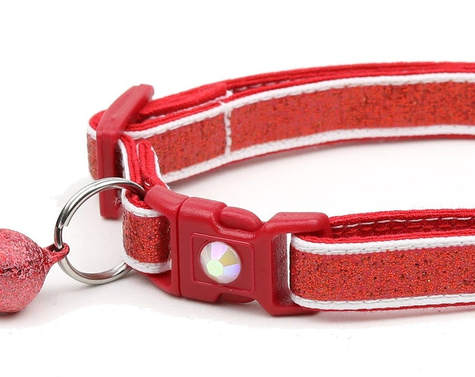 Red Glitter Cat Collar -Red Glitter Over White - Kitten or Large Size