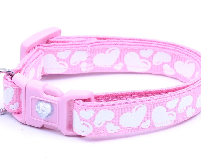Valentines Day Cat Collar - Puffy White Hearts on Light Pink - Kitten or Large Size B61D69