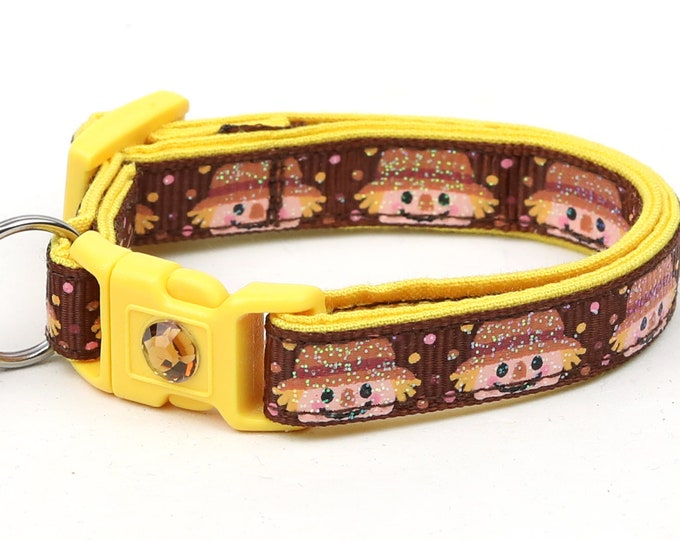Fall Cat Collar - Scarecrows on Brown - Small Cat / Kitten Size or Standard / Large Size Breakaway Safety Collar