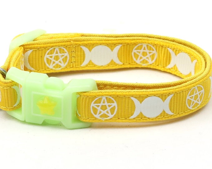 Wicca Cat Collar - Witch's Familiar on Yellow - Breakaway Cat Collar - Kitten or Large size - Glow in the Dark