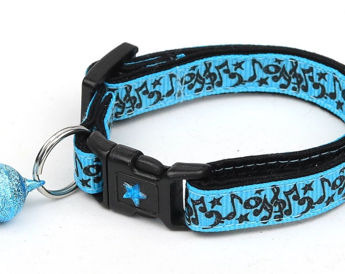 Music Cat Collar - Music Notes on Blue - Kitten or Large Size - Breakaway Cat Collar